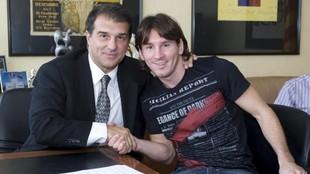 Laporta con Messi, en una imagen de archivo