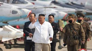 Kim Jong un durante un acto público.