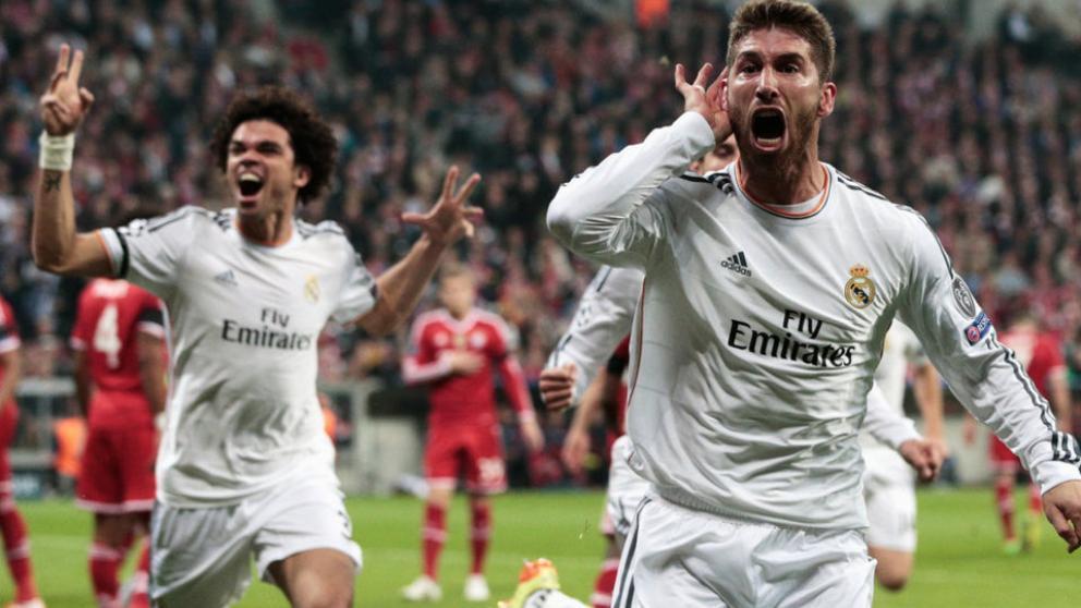 Sergio Ramos celebra uno de los tantos ante el Bayern.