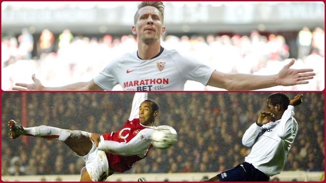 Luuk de Jong y Thierry Henry.