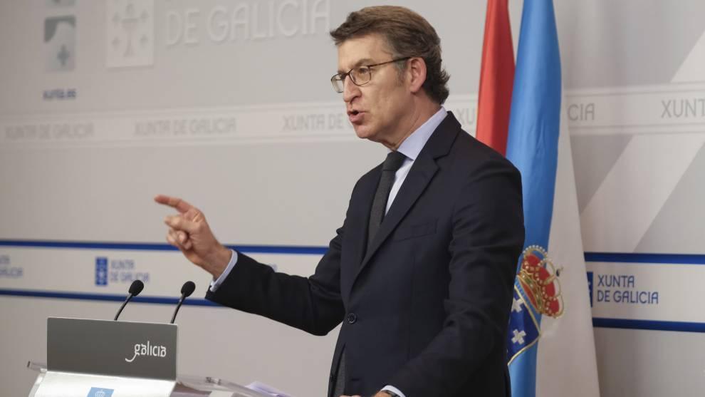 El presidente de la Xunta, Alberto Núñez Feijóo, en una...