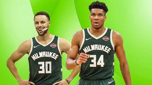 Montaje con Curry y Antetokounmpo con el uniforme de los Bucks