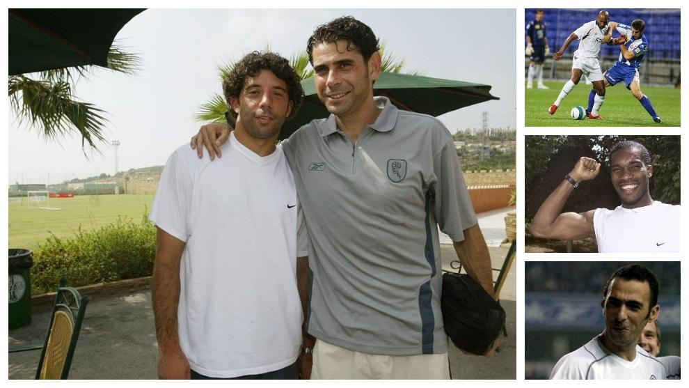 Iván Campo junto a Hierro en la foto principal. A la derecha, Anelka,...