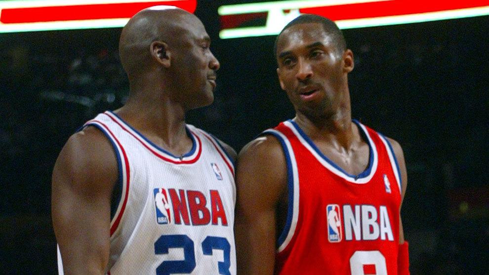 Kobe Bryant y Michael Jordan en un All Star