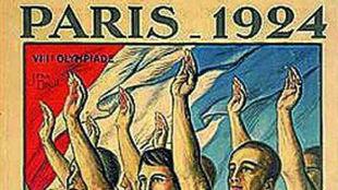 Cartel de los Juegos Olímpicos de París 1924, con saludo brazo en...
