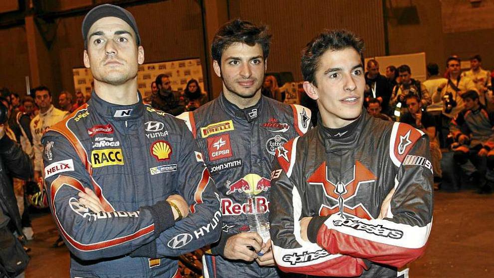 Dani Sordo, con Carlos Sainz Jr. y Marc Márquez en el 'Madrid Motor...