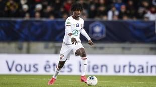 Camavinga, en un partido con el Rennes.