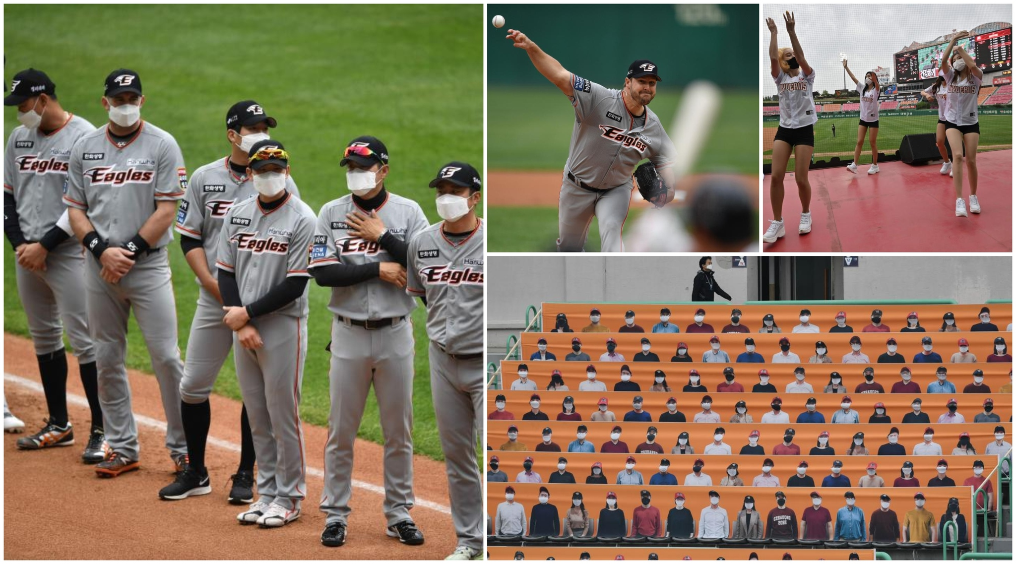 Animadoras protegidas, fotógrafos apelotonados, bateadores con mascarillas... ¡Vuelve el béisbol en Corea del Sur!