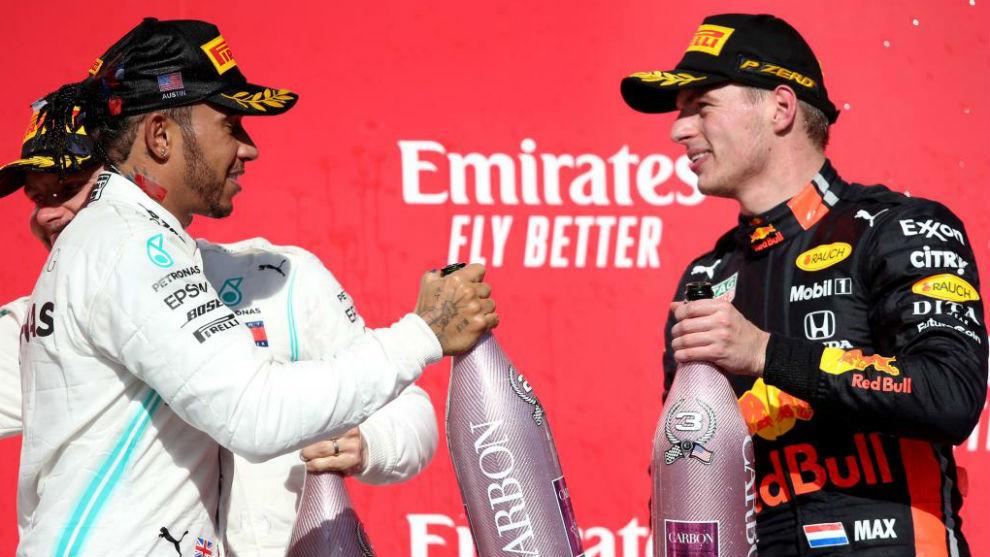 Hamilton y Verstappen, en el podio del pasado Gran Premio de Estados...