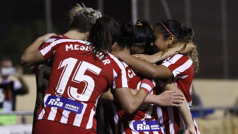 Las jugadoras del Atlético de Madrid celebran un gol esta temporada.