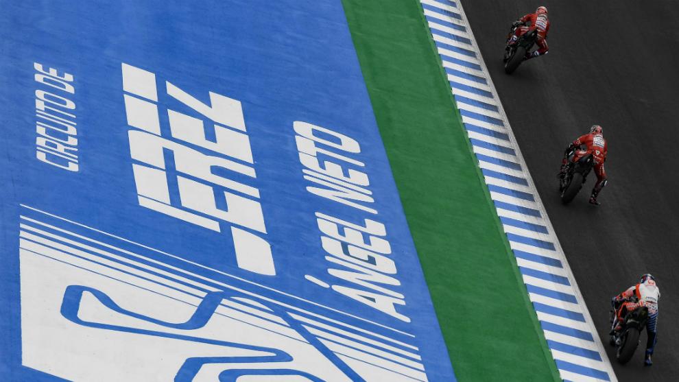 Momento de la carrera de MotoGP en Jerez el año pasado.