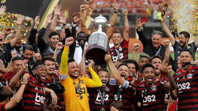 Los jugadores del Flamengo, con la Libertadores conquistada en 2019.