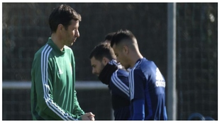 Ziganda, en un entrenamiento del Oviedo