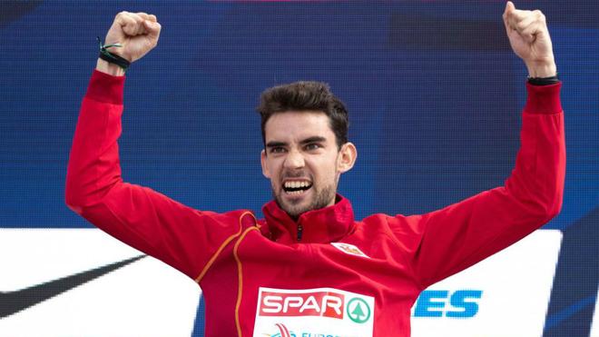Álvaro Martín en el podio del Europeo de Berlín de 2018.