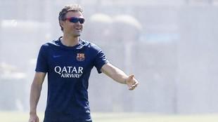 Luis Enrique, en una sesión con el Barcelona