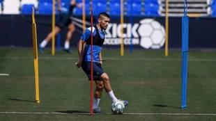 Óscar, en el entrenamiento del Leganés de este viernes.