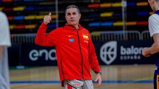 Sergio Scariolo, en un entrenamiento con la Selección Española.