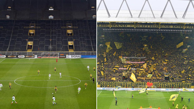 El Signal Iduna Park de Dortmund a puerta cerrada... y lleno.