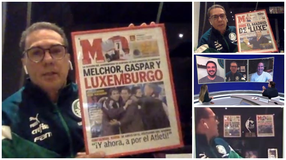 Luxemburgo, mostrando las portadas de MARCA que tiene en su despacho.
