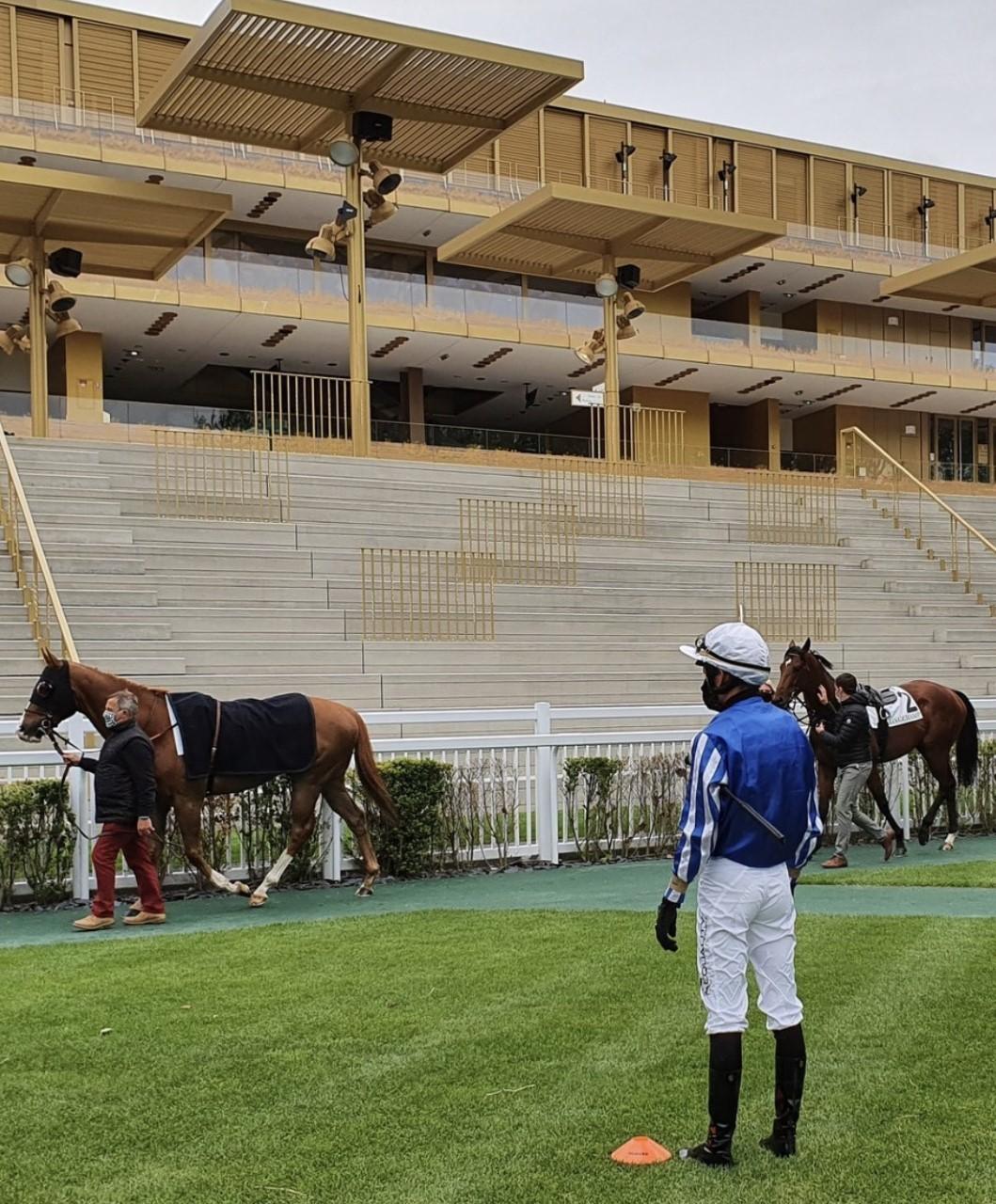 Las tribunas de Longchamp vacías, al disputarse las carreras a puerta...