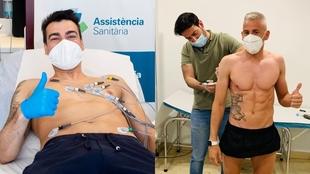 Sergio Lozano y Miguelín, durante las pruebas realizadas este lunes.