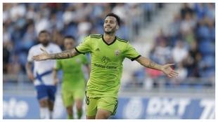 Lazo celebra el gol que marcó al Tenerife en el Heliodoro