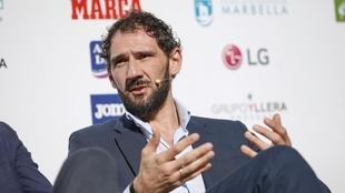 Jorge Garbajosa durante una conferencia.