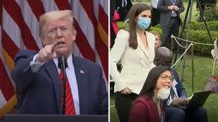 """Trump ataca a una periodista de rasgos asiáticos (""""pregúntale a China"""") y acaba la rueda de prensa con gran revuelo"""