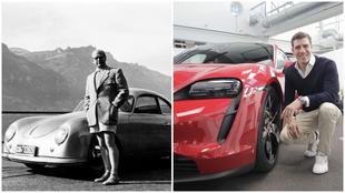 Ottomar Domnick con su Porsche 356 (izqda) y Florian Böhme con su...