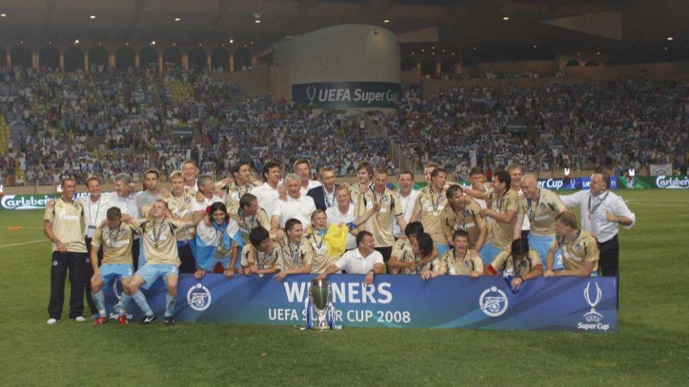El Zenit celebra la conquista de la Supercopa de Europa ante el Man....
