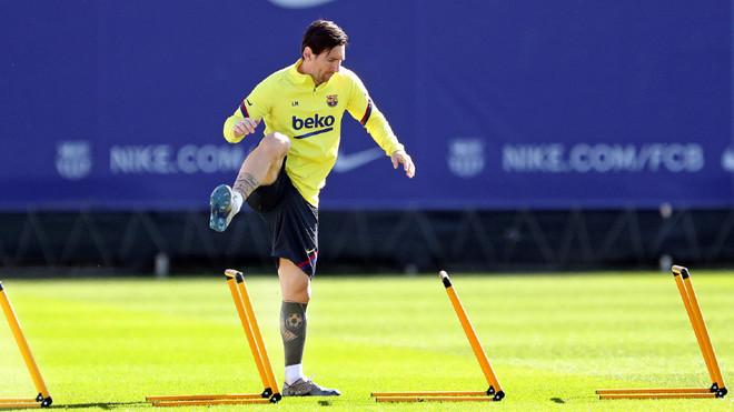 Messi, durante un entrenamiento de esta semana.