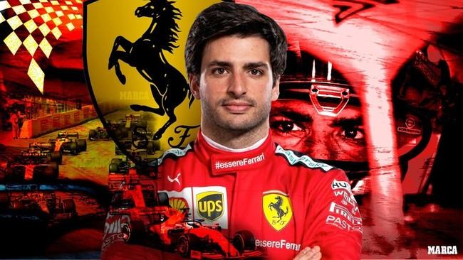 Carlos Sainz, vestido de Ferrari.