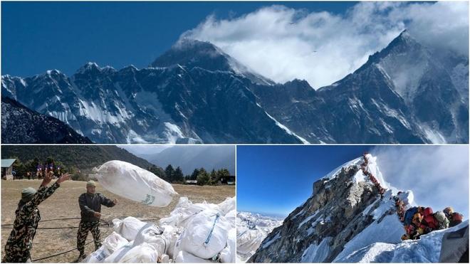 El Everest en 2020, y abajo en 2019 con la recogida de basura y las...