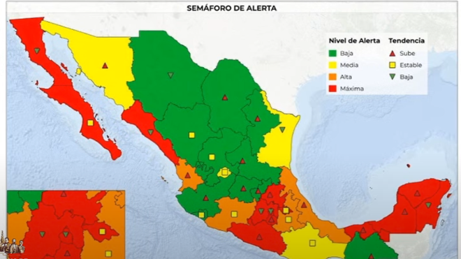 Map of the coronavirus in Mexico by state.
