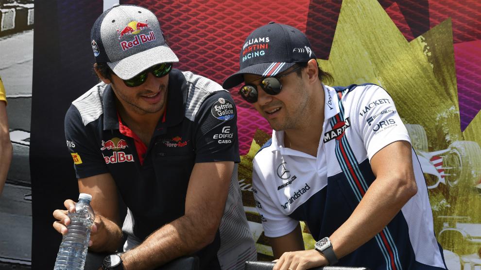 Sainz, cuando estaba en Toro Rossi, junto a Massa, en su etapa en...