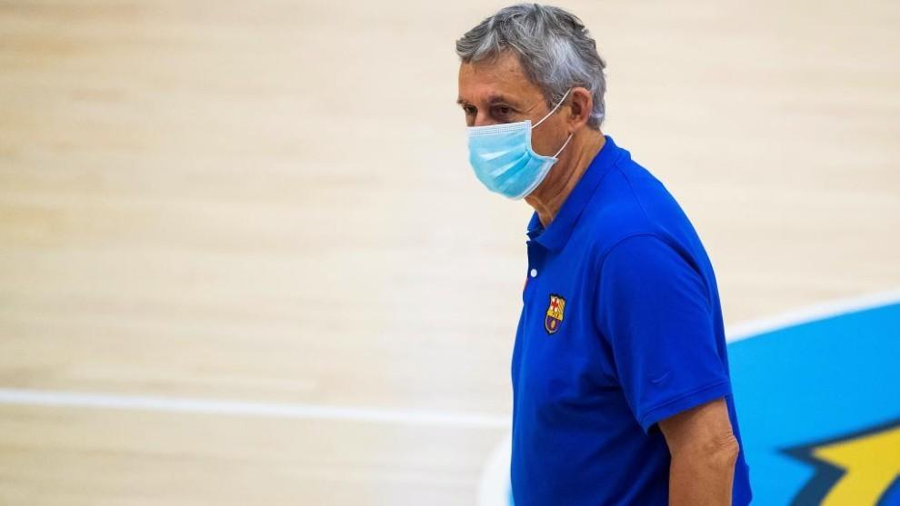 Pesic, durante un entrenamiento del Barcelona.