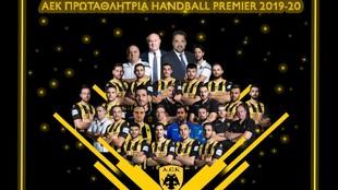 Cartel del AEK como campeones de la liga griega /