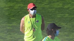 Paco Jémez, durante el entrenamiento de hoy