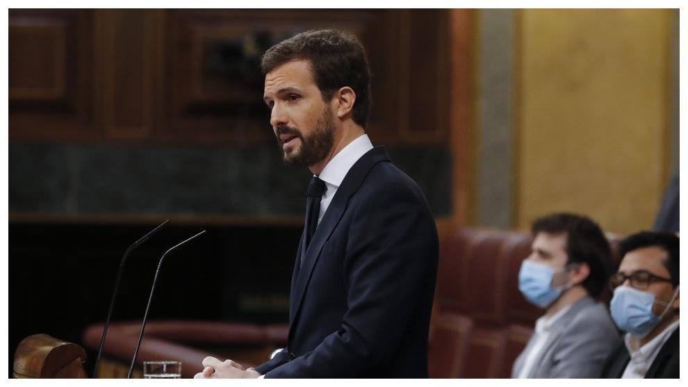 Pablo Casado, durante su intervención en el Congreso de los...
