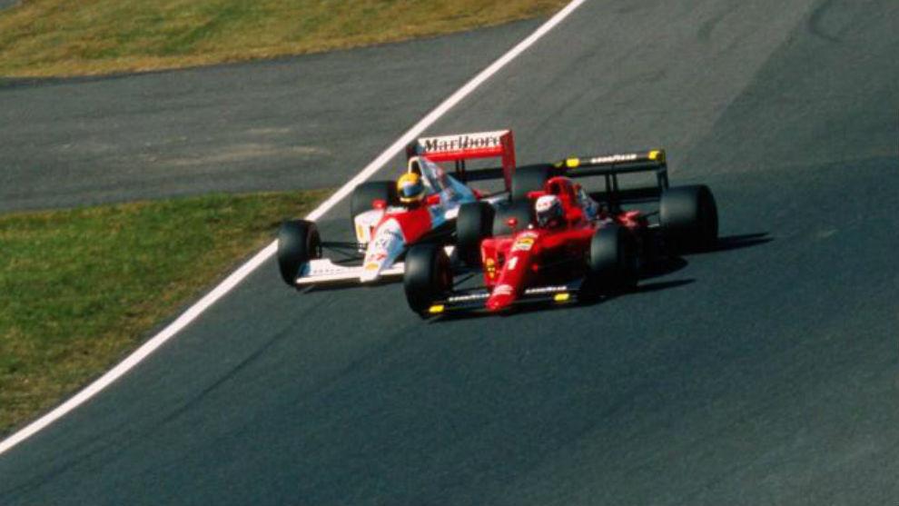 Senna y Prost, en la salida del GP de Japón 1990.