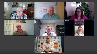 Imagen de la reunión telemática de Blanco con las federaciones.