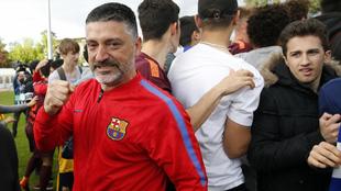 García Pimienta, en la final de la Youth League 2017-18.
