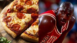 Montaje con una pizza de pepperoni