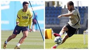 Luis Suárez y Hazard, entrenándose una vez superadas sus lesiones