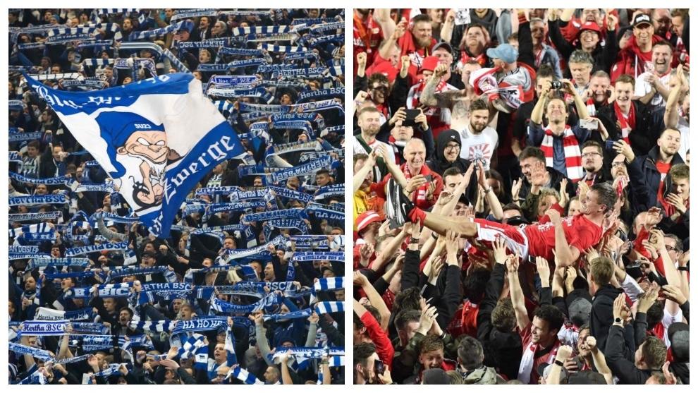 A la izquierda, fans del Hertha. A la derecha, los del Unión con...