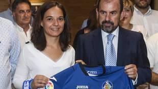 La alcaldesa Sara Hernández y el presidente Ángel Torres, en la...