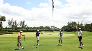 Rickie Fowler, Matthew Wolff, Dustin Johnson y Rory McIlroy en Florida