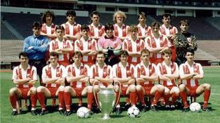 La plantilla del Estrella Roja campeona de Europa en 1991.