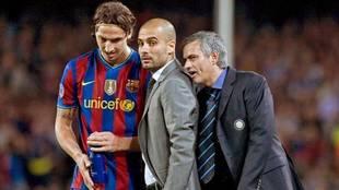Momento en el que Mourinho se dirigió a Guardiola en el Barça-Inter...