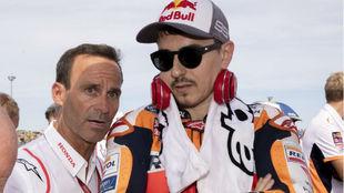 Puig, con Lorenzo, en Honda.